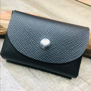 Handcrafted saffiano leather business card holder